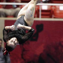 Utah's Stephanie McAllister performs on the beam at the NCAA Salt Lake Regional Gymnastics Saturday, April 7, 2012 in Salt Lake City.