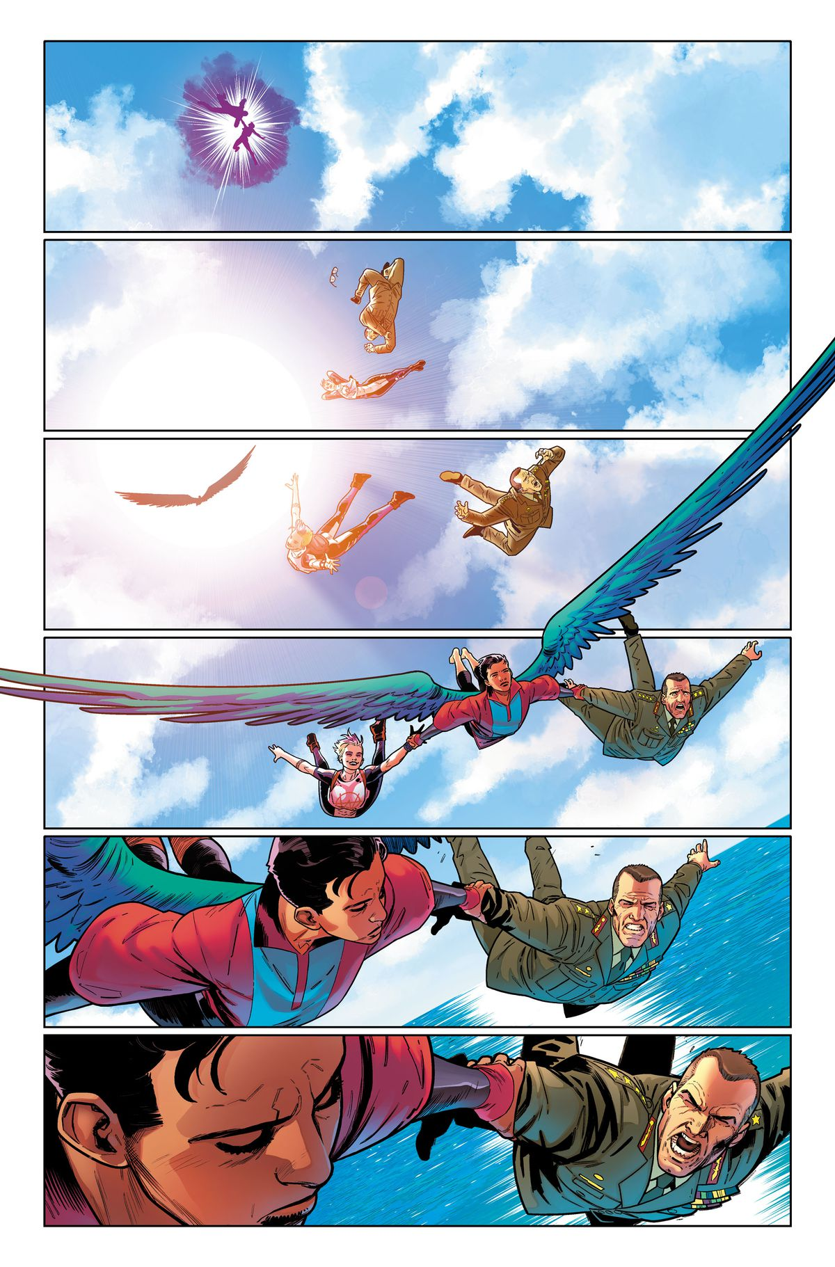 Blink drops out of a portal in the sky with a uniformed man. The Aerie swoops in and grabs both of them, in an unlettered page from Suicide Squad #1, DC Comics (2019).