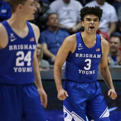 Brigham Young Cougars guard Elijah Bryant (3) gets hyped up during the game against the Utah Utes at the Marriott Center in Provo on Saturday, Dec. 16, 2017.