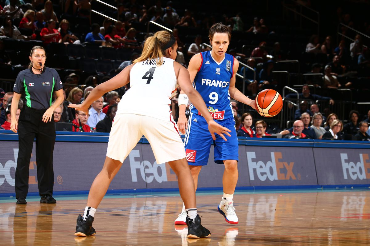Céline Dumerc (9) plays for the French Olympic team.
