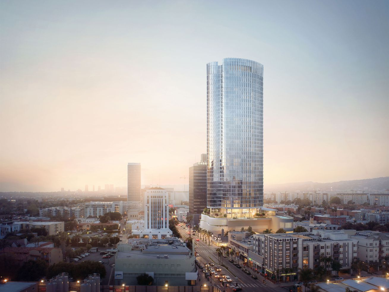 The high-rise is planned for Wilshire Boulevard between Cochran and Cloverdale.