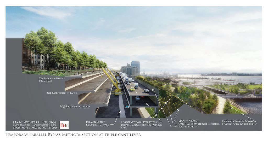 A digital rendering of a temporary two-tier road beside the the existing Brooklyn Queens Expressway, which is under construction.