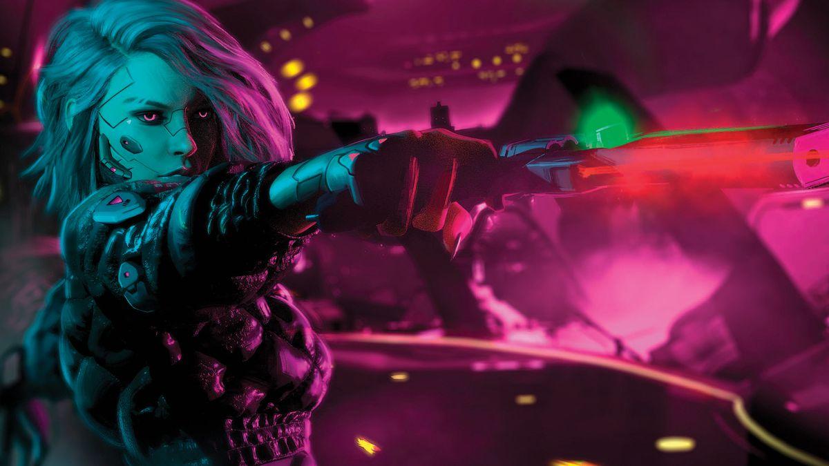 An edgerunner wearing light armorjack points their gun at a target. All against a neon backdrop.