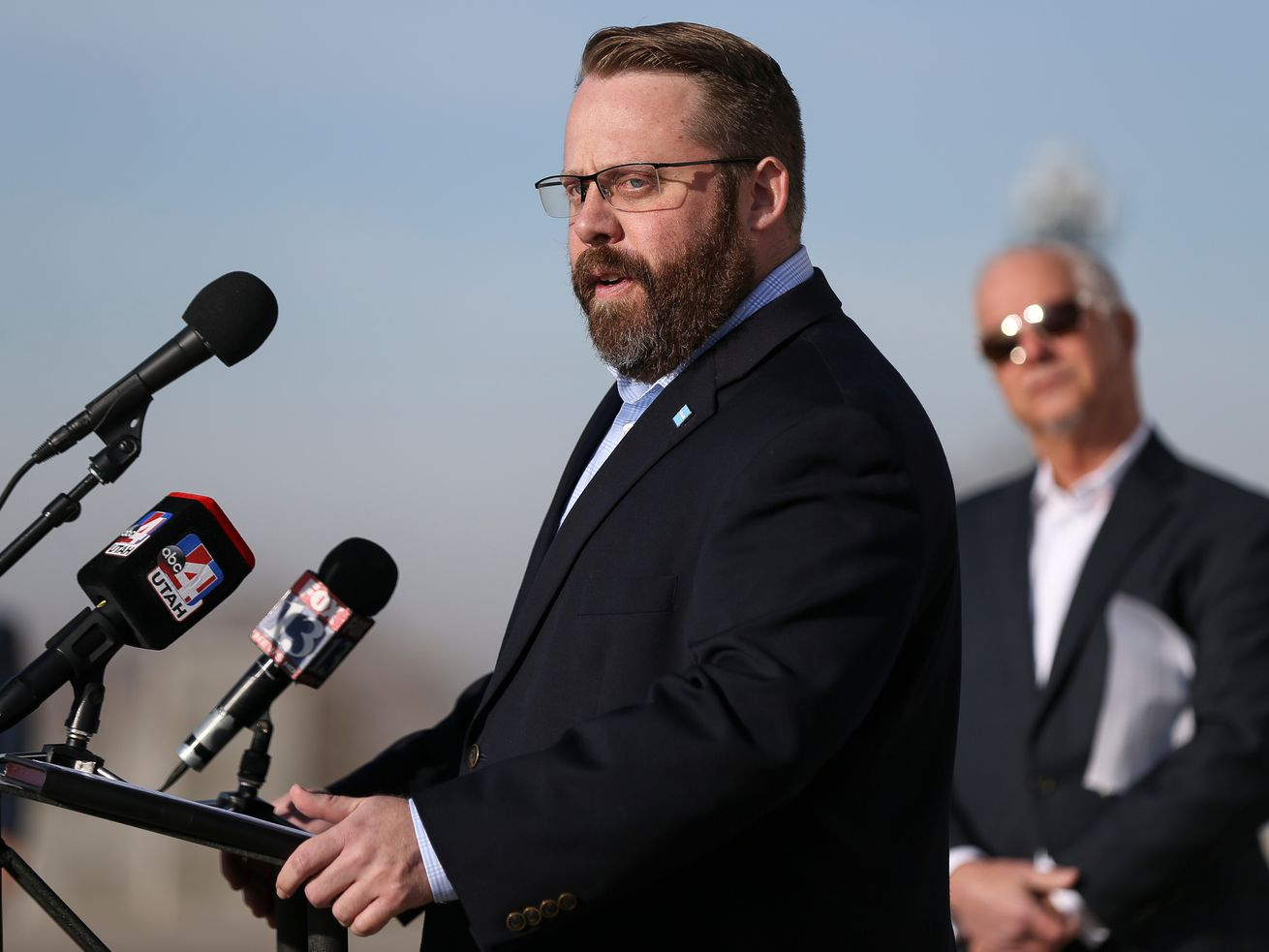 Thom Carter, executive director of the Utah Clean Air Partnership, speaks at a press conference reintroducing Utah Transit Authority's route 500 Capitol Connector at the Capitol in Salt Lake City on Wednesday, Jan. 17, 2018. Carter, a Republican, is considering a run for the 4th Congressional District seat held by Utah's only Democrat in Congress, Rep. Ben McAdams.