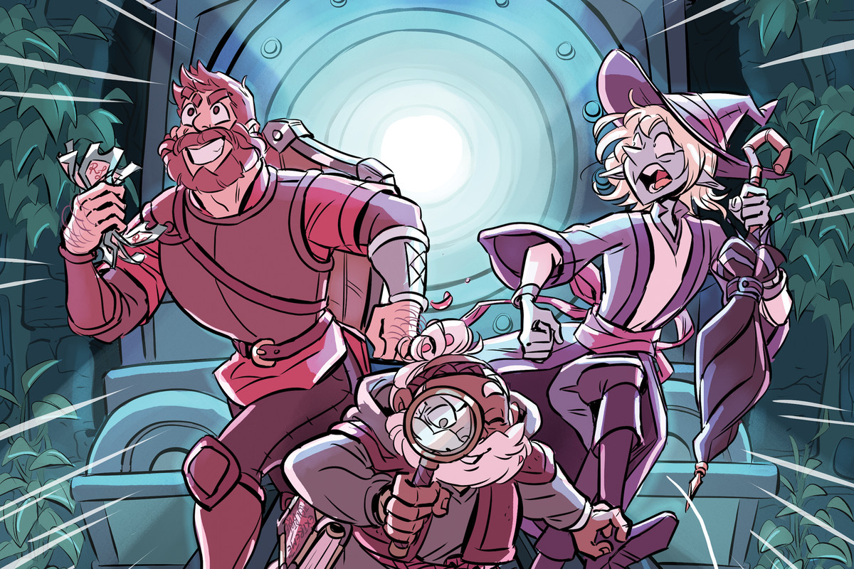 The cover for The Adventure Zone: Murder on the Rockport Limited. Taako, Magnus, and Merle are running down train tracks from a train right behind them. Magnus is clutching some tickets. Merle is examining a bloody d20 with a magnifying glass. Griffin is in the top left corner wearing a conductor's hat. Listed at the bottom are the names of the authors and illustrator: Clint McElroy, Griffin McElroy, Justin McElroy, Travis McElroy, and Carey Pietsch.