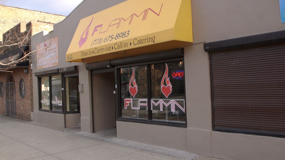 Flammin Restaurant's exterior with the logo of the flaming heart.   Brian Rich/Sun-Times