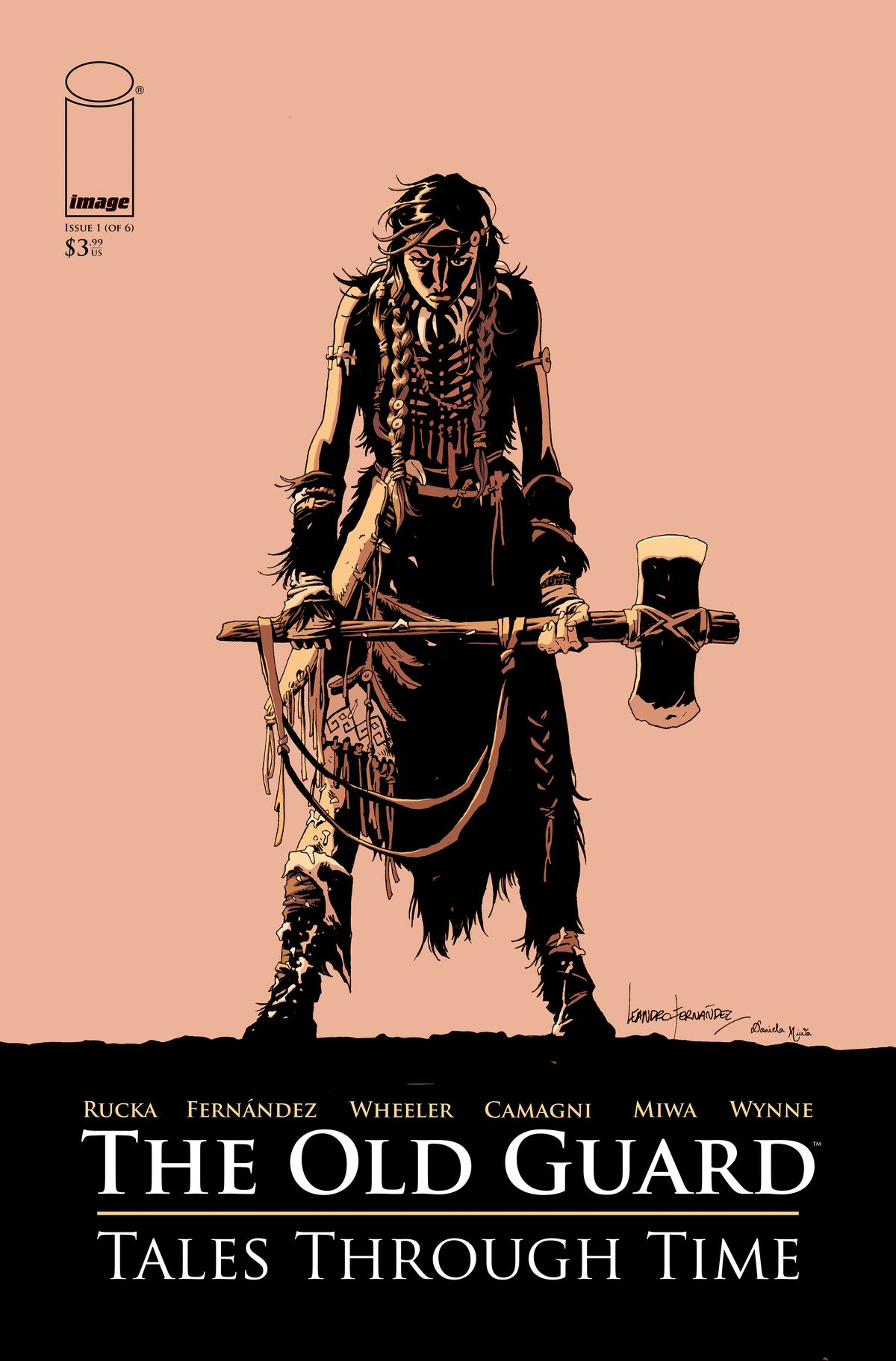 The Old Guard: Tales Through Time issue #1 cover - A woman in animals skin clothing holds a wooden axe