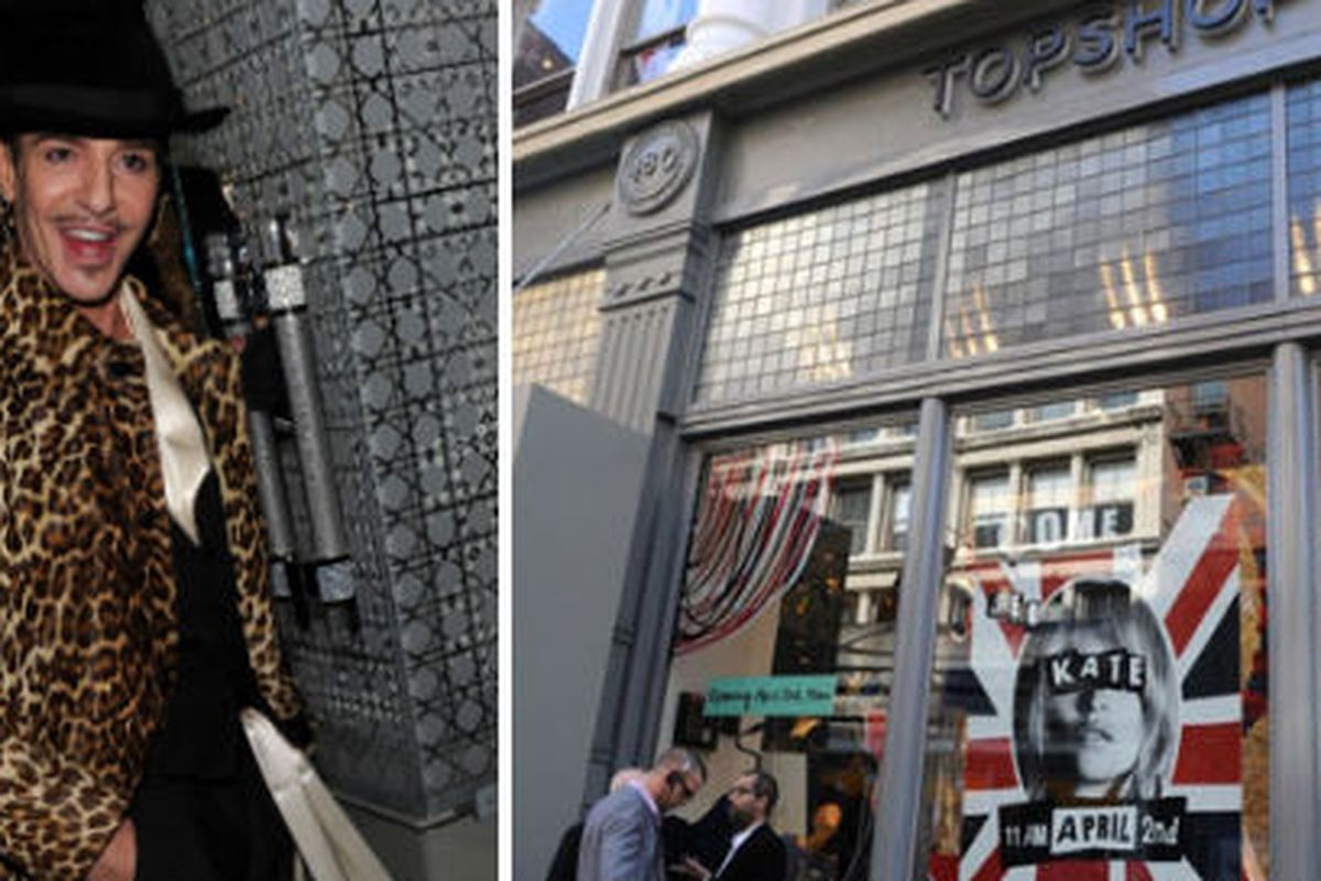 "John Galliano image via <a href=""http://gettyimages.com"">Getty Images</a>, Topshop image via <a href=""http://www.paulpelssers.com/2009/04/03/topshop-opens-nyc/"">Paul Pelssers</a>"