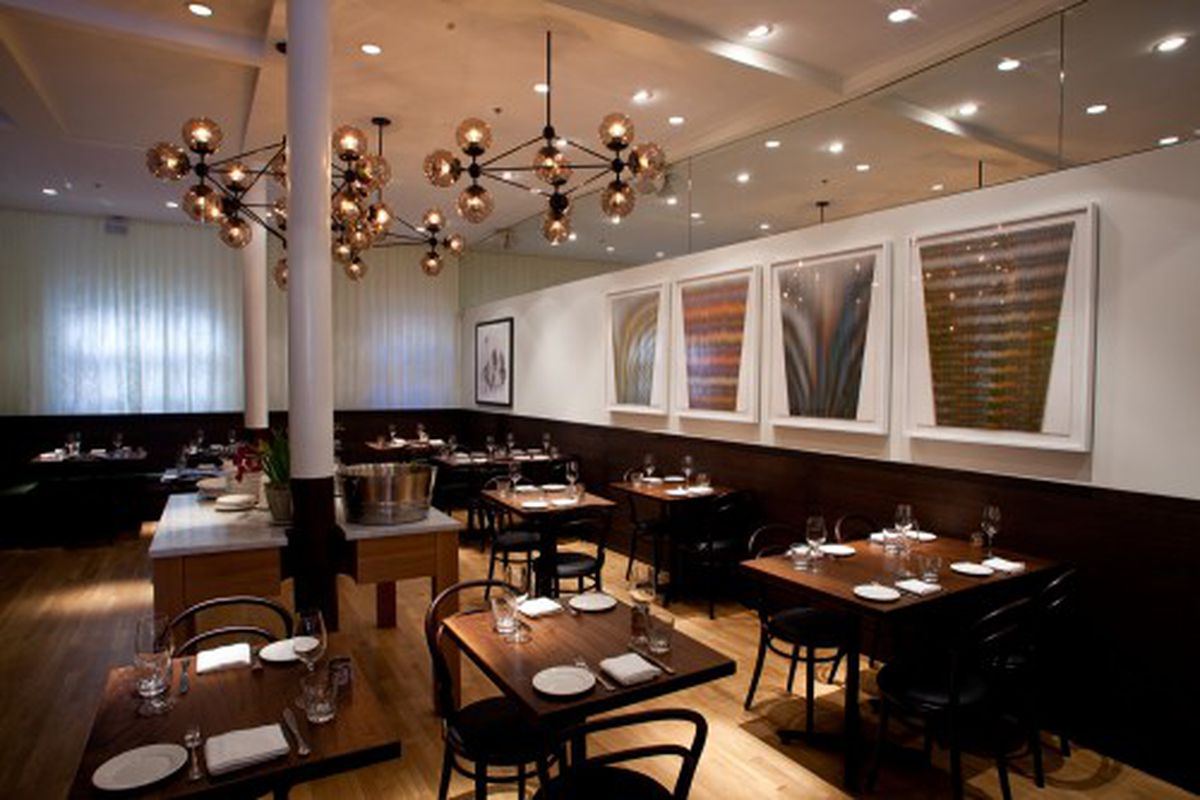 """The dining areas include just under 70 seats in total. Line drawings by  <a href=""""http://www.alexzecca.com/new-work.html"""" rel=""""nofollow"""">Alex Zecca</a> ."""