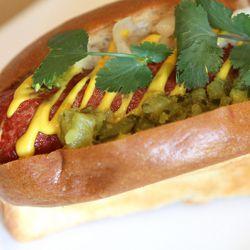 The Umami Dog, with diced onions, relish, dijon mustard and cilantro