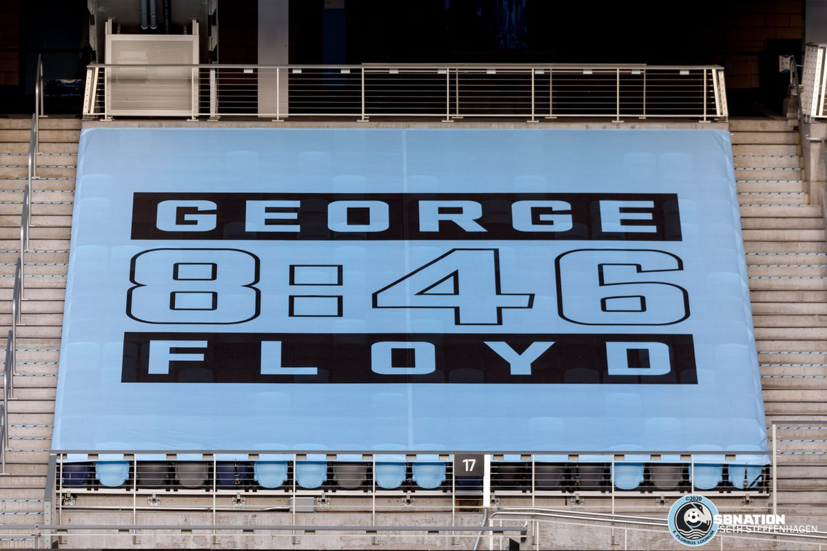 August 21, 2020 - Saint Paul, Minnesota, United States - A George Floyd banner covers the vacant seats at the Minnesota United vs Sporting KC match at Allianz Field.