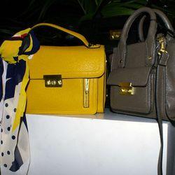 Chiffon Large Boom Print Scarf, $19.99; Crossbody Bag in Gold, $34.99; Large Satchel Bag in Grey, $54.99