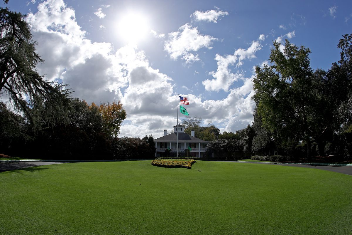 A general view of the clubhouse during a practice round prior to the Masters at Augusta National Golf Club on November 09, 2020 in Augusta, Georgia.