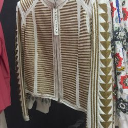 Gold-beaded white leather jacket, $299 (was $1,998)