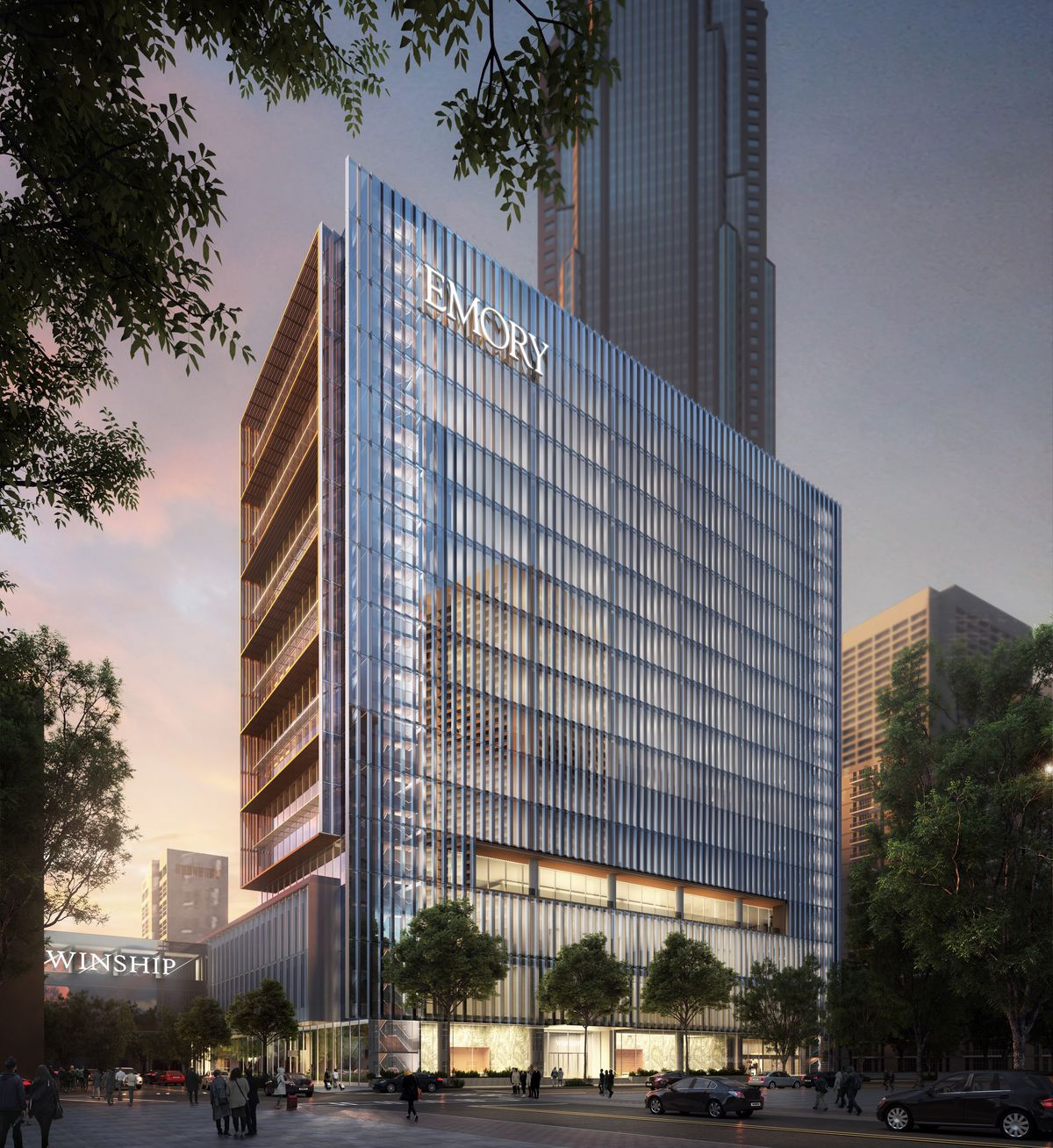 Rendering of tall building with EMORY written at the top left corner.