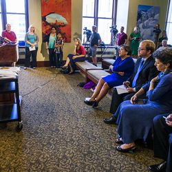 Scott Howell, chairman of the Pioneer Park Coalition, discusses the urgency to expand Medicaid during a press conference at the state Capitol in Salt Lake City on Tuesday, Aug. 18, 2015.