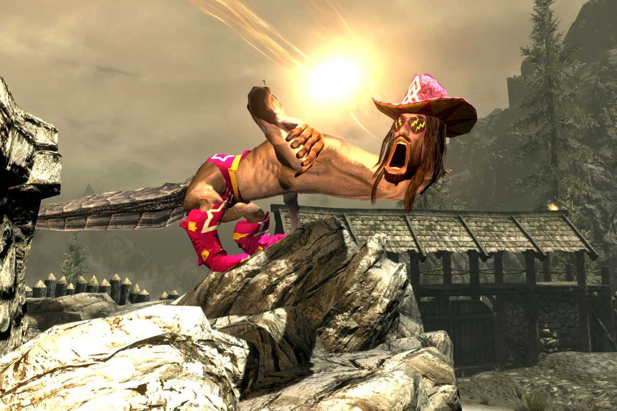 A dragon with the head of and pimp hat worn by Macho Man Randy Savage crouches over a Nord longhouse and lets loose a powerful shout