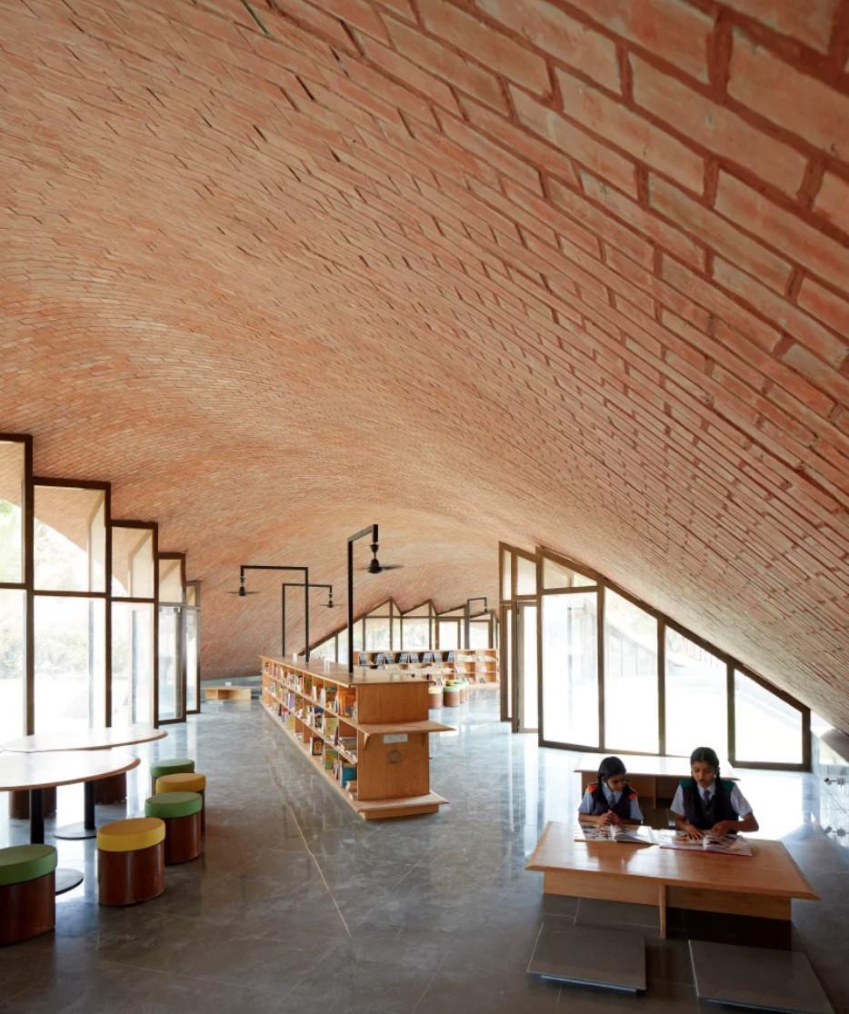 Inside of school with concrete floor