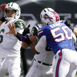 ADVANCE FOR WEEKEND EDITIONS, SEPT. 15-16 - In this photo taken Sunday, Sept. 9, 2012, New York Jets quarterback Mark Sanchez (6) throws a pass during the second half of an NFL football game against the Buffalo Bills at MetLife Stadium in East Rutherford, N.J.   Sanchez sent a message to his critics with a terrific performance against the Bills that left no doubt: He's the undisputed leader of this team.