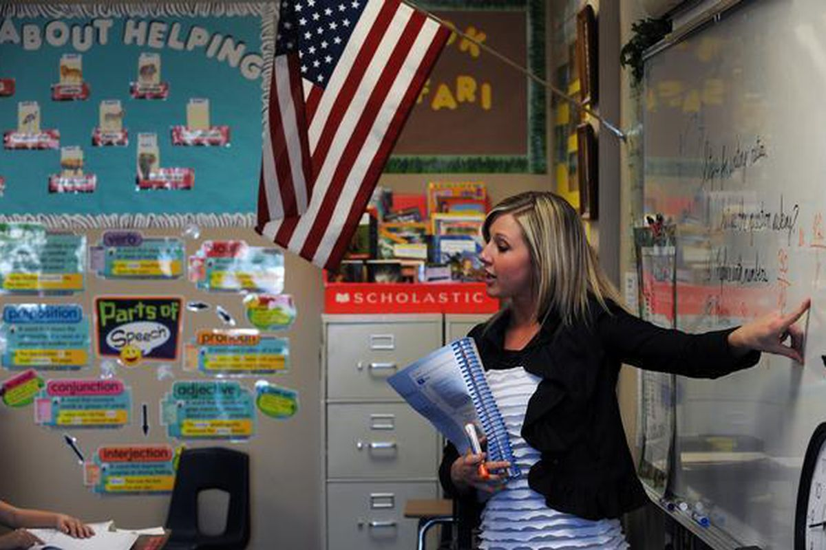 Fifth-grade teacher Tasha Hittle leads a class at the James Irwin Charter Elementary School in Colorado Springs.