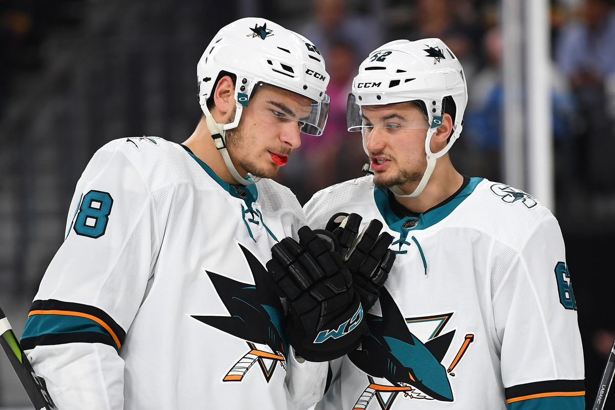 May 4, 2018; Las Vegas, NV, USA; San Jose Sharks right wing Kevin Labanc (62) talks with right wing Timo Meier (28) during the second period of game five of the second round of the 2018 Stanley Cup Playoffs against the Vegas Golden Knights at T-Mobile Are