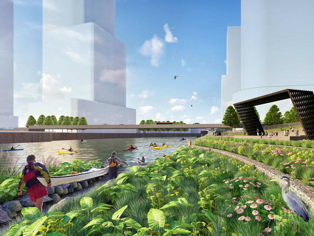The megaproject's park space will be designed by New York landscape architect James Corner Field Operations.