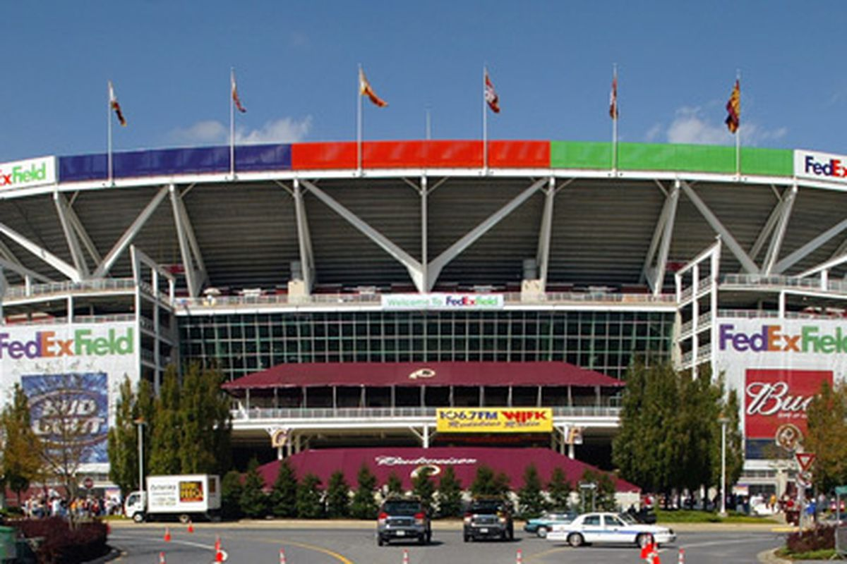 The mammoth FedEx Field in Landover, Maryland home of the Washington Redskins.