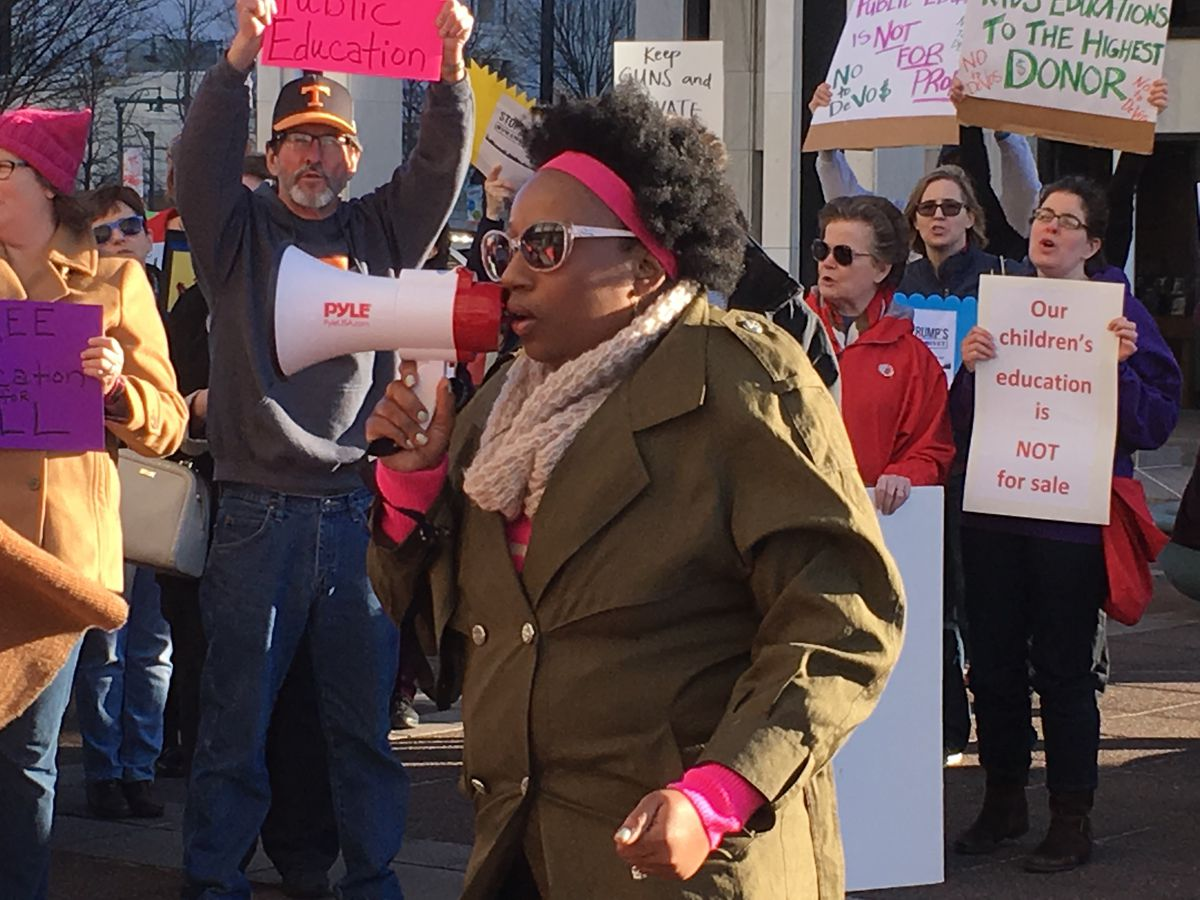 Pamela Moses, co-founder of Memphis chapter of Black Lives Matter, speaks at Monday's rally.