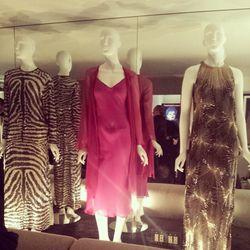 Vintage Halston dresses inside L'Ermitage Hotel's 1970s-themed Suite 100.