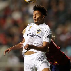 Los Angeles Galaxy Niko Hamalainen battles for the ball with Real Salt Lake defender Justen Glad (15) as Real Salt Lake and LA Galaxy play at Rio Tinto Stadium in Sandy on Wednesday, Sept. 29, 2021. RSL won 2-1.