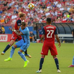 Paxton Pomykal (19) collides with New York City defender Ronald Matarrita (22) in the first half of the MLS match between FC Dallas and New York City FC