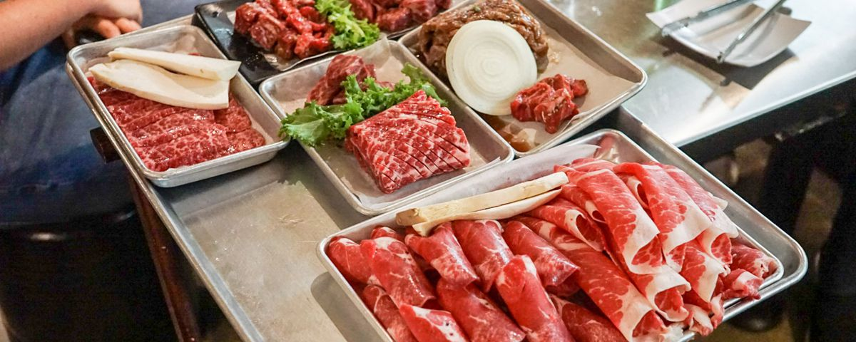 Meat tray at Muldaepo, Koreatown