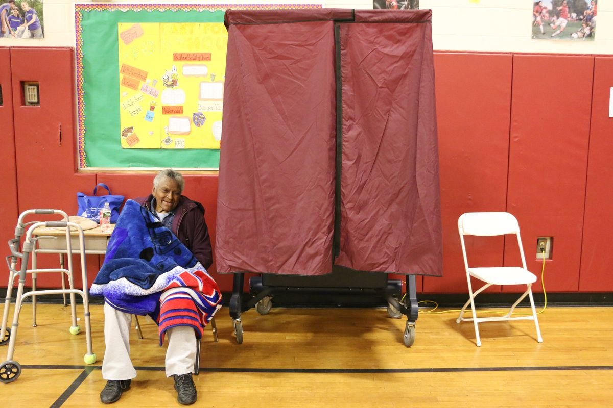 A voting booth used in Newark's April school board election.