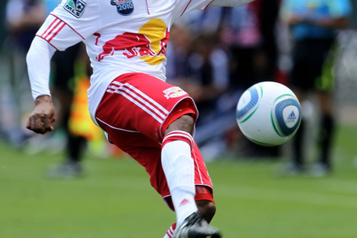 Dane Richards was able to put the Red Bulls up early with his 8th minute header.  (Photo by Stephen Dunn/Getty Images)