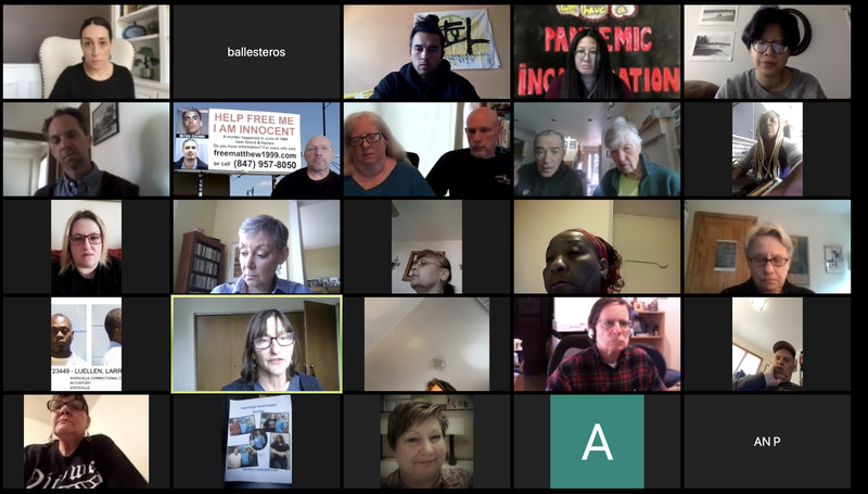 A screenshoot of a virtual news conference hosted Thursday by criminal justice groups and family members of people incarcerated in Illinois prisons asking Gov. J.B. Prtizker to release thousands of inmates.