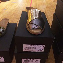 Metallic sandals, $207