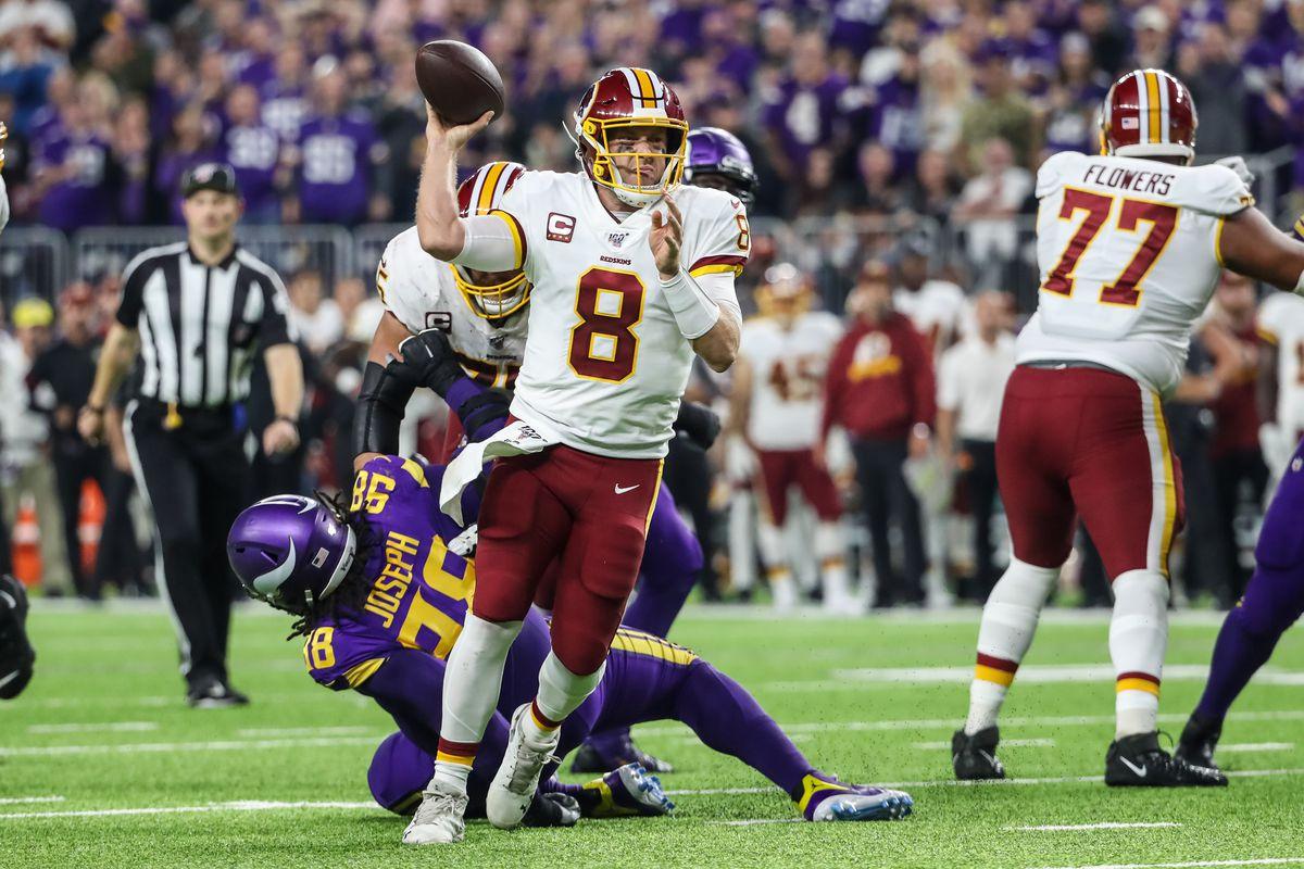 Washington quarterback Case Keenum throws during the second quarter against the Minnesota Vikings at U.S. Bank Stadium.