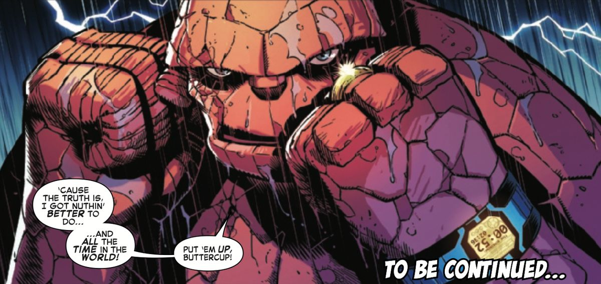 Ben Grimm, the Thing squares his fists at the Hulk, with only 52 seconds to go before loses his superpowers, in Fantastic Four #12, Marvel Comics (2019).