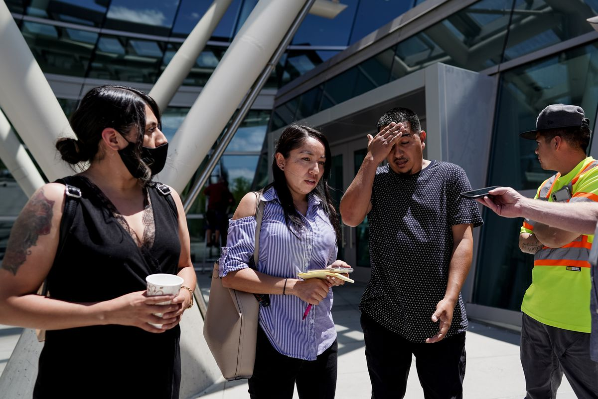 The family of Bernardo Palacios Carbajal, from left, sister-in-law Norma Palacios, sister Karina Palacios, brother Freddie Palacios and cousin Josh Palacios, talk to journalists outside the Public Safety Building in Salt Lake City on Friday, June 5, 2020 after reviewing body-camera footage of Palacios Carbajal being shot by Salt Lake police.