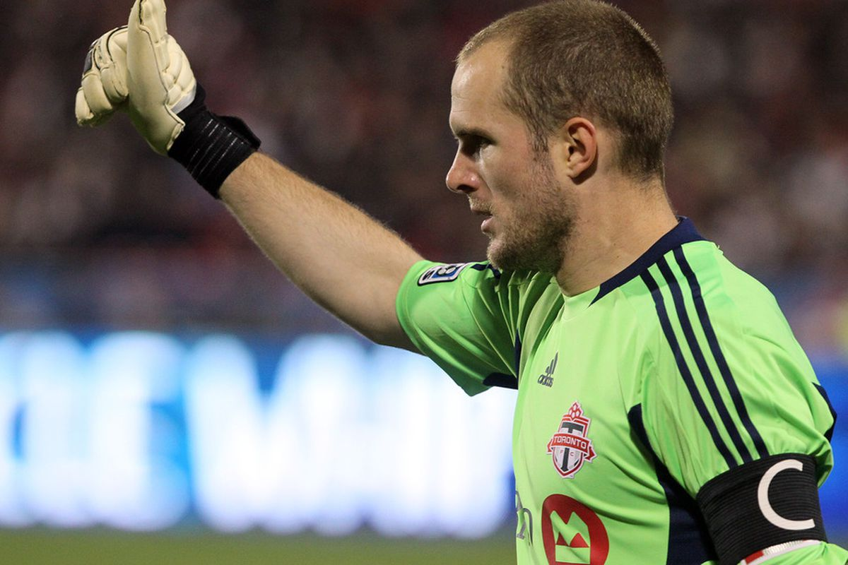 TORONTO, CANADA - APRIL 13: Stefan Frei #24 of Toronto FC signals to his team against Los Angeles Galaxy during MLS action at BMO Field April 13, 2011 in Toronto, Ontario, Canada. (Photo by Abelimages/Getty Images)