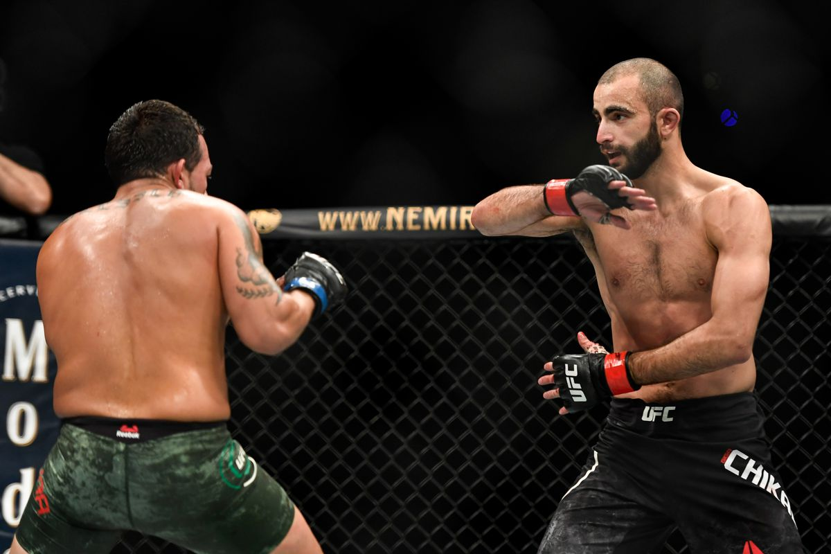 Giga Chikadze of Georgia fights Irwin Rivera of the United States in their Featherweight bout during UFC Fight Night at VyStar Veterans Memorial Arena on May 16, 2020 in Jacksonville, Florida