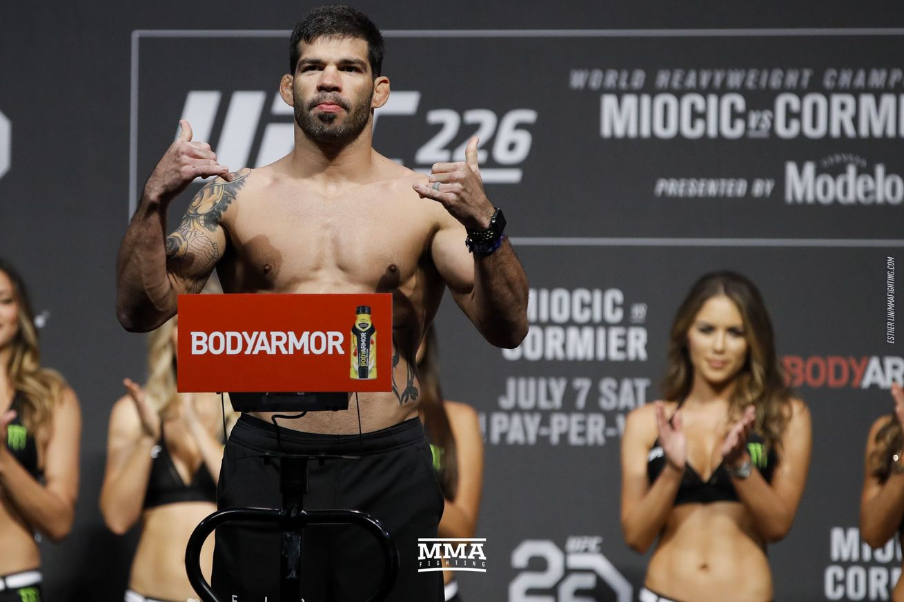 Raphael Assuncao (pictured) fights Cory Sandhagen in a bantamweight bout at UFC 241 in Anaheim, California, on Aug. 17