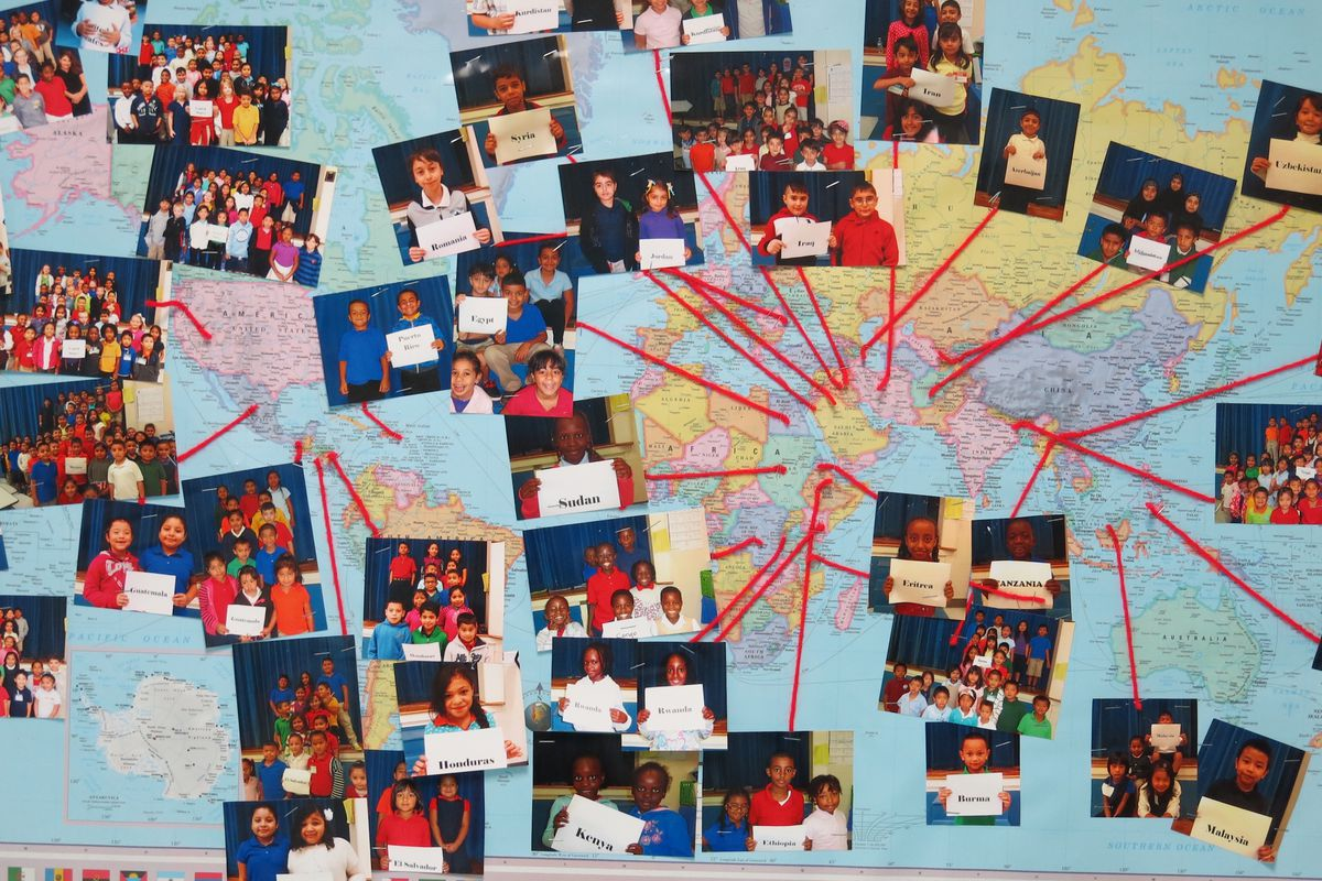 A bulletin board at Tusculum Elementary School tracks nationalities represented at the Nashville public school.