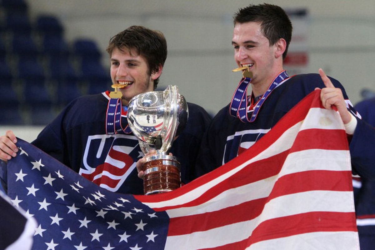 Kerdiles (right) after winning the U18 World Championship gold medal for Team USA