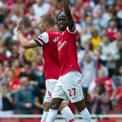Arsenal's Gervinho reacts after scoring against Southampton during their English Premier League soccer match at the Emirates stadium, London, Saturday, Sept. 15, 2012.