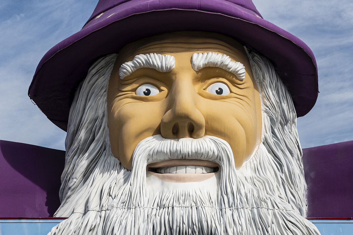 Giant figure of Merlin the Magician...
