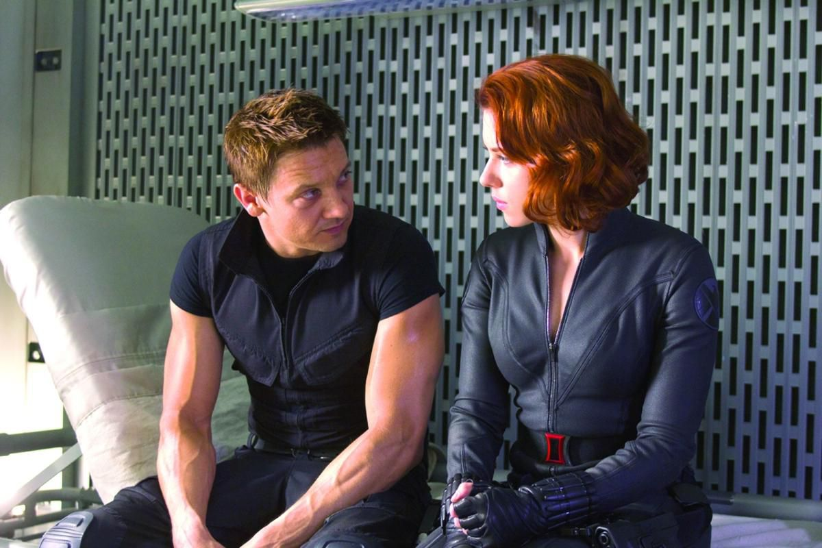 "Black Widow and Hawkeye in ""The Avengers."""