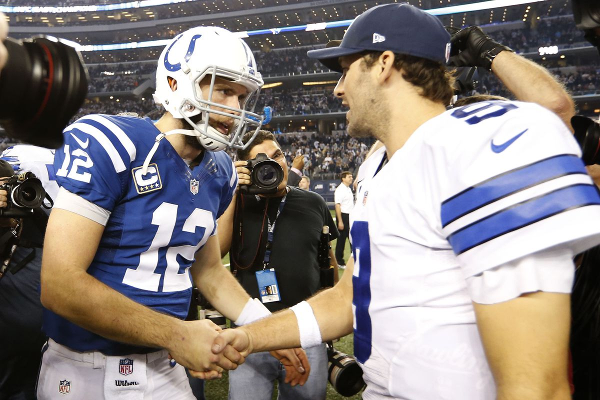 Andrew Luck (left) and Tony Romo will be in action today