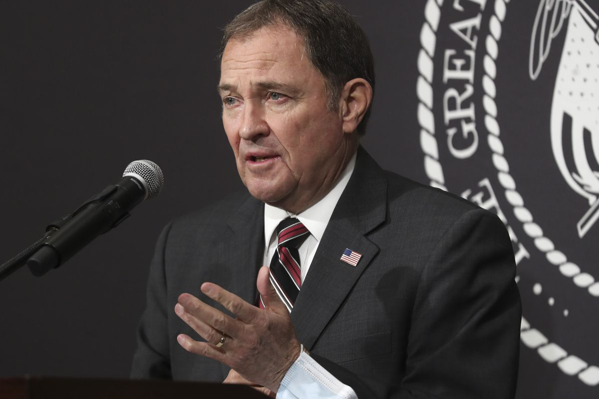 Utah Gov. Gary R. Herbert speaks during the daily COVID-19 briefing at the Capitol in Salt Lake City on Friday, April 24, 2020.