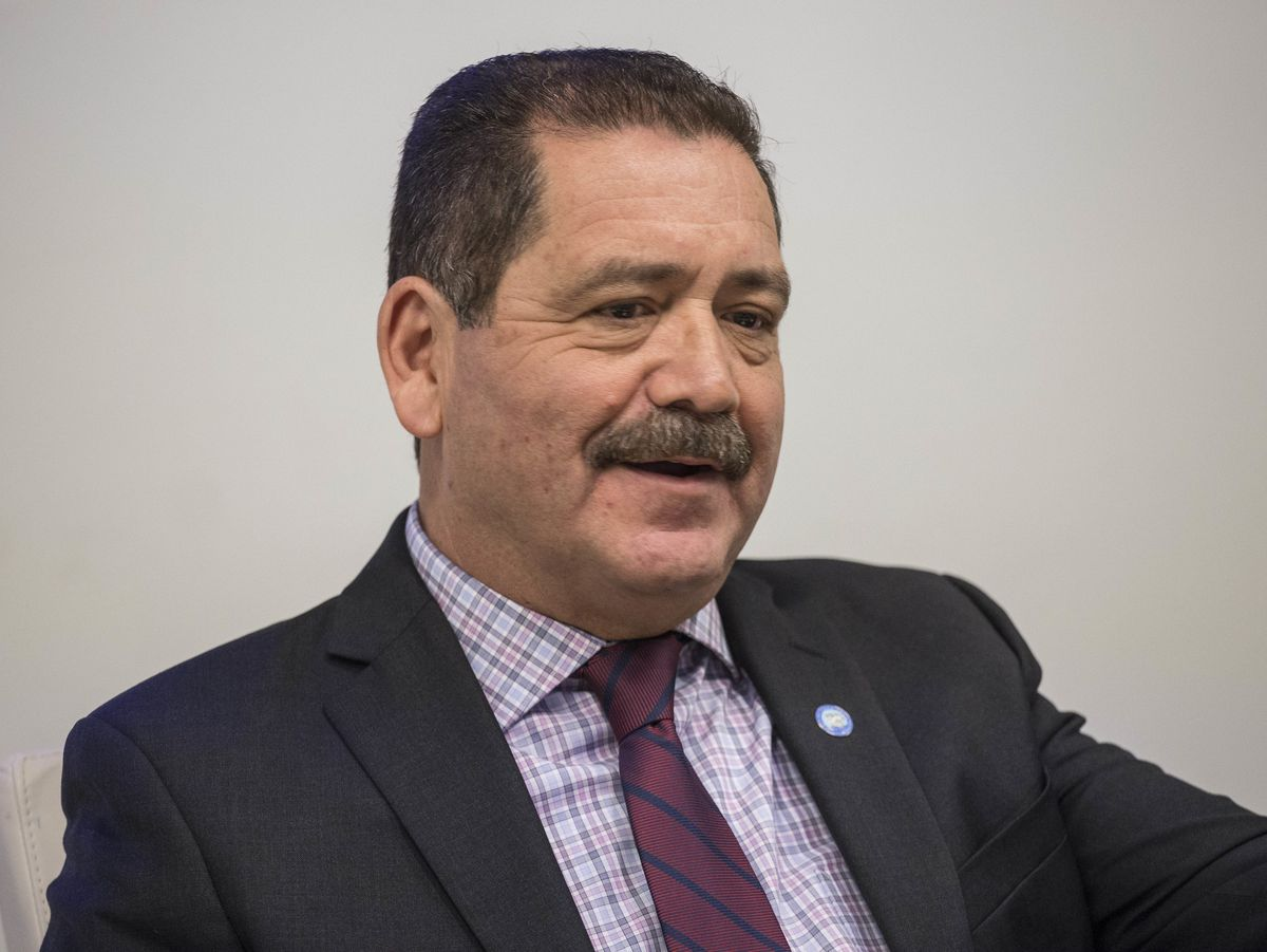 """U.S. House 4th district Democratic candidate Jesus """"Chuy"""" Garcia, speaks before the Chicago Sun-Times editorial board in Chicago. 